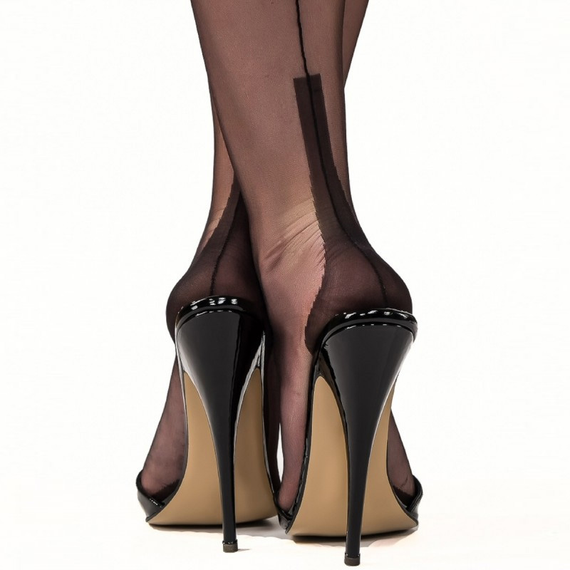 Black Stockings With Open Toed Shoes photo 4
